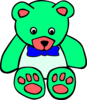 Surf Green Teddy Bear Line Art Image